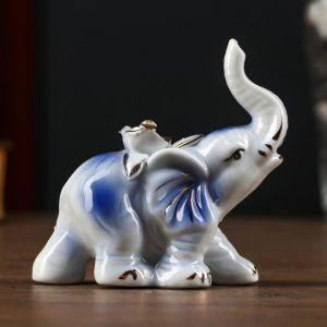 """Сувенир керамика """"Слонёнок с розой на спине"""" синий с золотом, страза 9х9х3,8 см   4825562"""