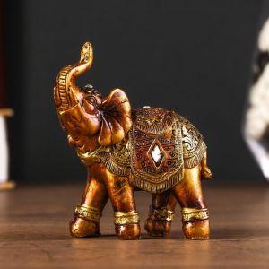 """Сувенир полистоун """"Африканский слон в золотой, ажурной попоне"""" МИКС 8,5х7х3 см 3441624"""