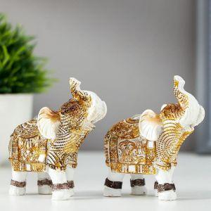 """Сувенир полистоун """"Белый слон с попоной из арабского ковра"""" МИКС 7,8х7,5х3,2 см   5127035"""