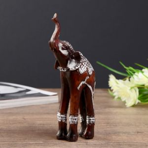"Сувенир полистоун ""Слон на длинных ногах, попона с серебристыми узорами"" 15х6,5х4 см   4432833"
