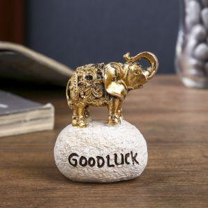 "Сувенир полистоун ""Слонёнок - Good luck"" МИКС золото/серебро 6,5х5х4 см   4145574"