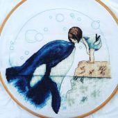 """Digital cross stitch pattern """"Orca kiss""""."""