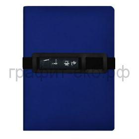 Книжка зап.Феникс+ А5+ СОФТ-ТАЧ кожзам синий резинка с держателем д/моб.тел. 96л.в точку 52389