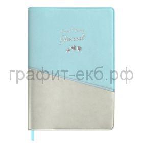 Книжка зап.Феникс+ А6 ПВХ серебряный/голубой 96л. линия 52778