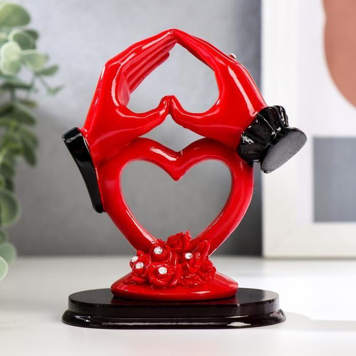 """Сувенир полистоун """"Сердце из рук"""" красно-чёрная 12х9х6,2 см   5122136"""