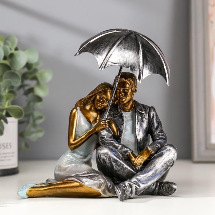 "Сувенир полистоун романтика ""Влюблённые под зонтом"" 17,5х14,5х10,5 см 2600619"