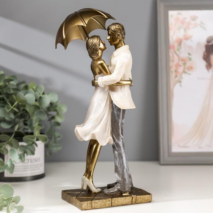 "Сувенир полистоун романтика ""Влюблённые под зонтом"" беж 28х10,5х11,5 см   4838253"