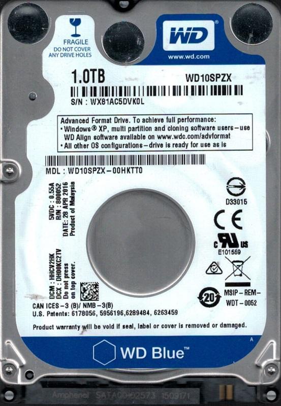 """Накопитель HDD 2.5"""" SATA 1.0TB WD Blue 5400rpm 128MB (WD10SPZX)"""