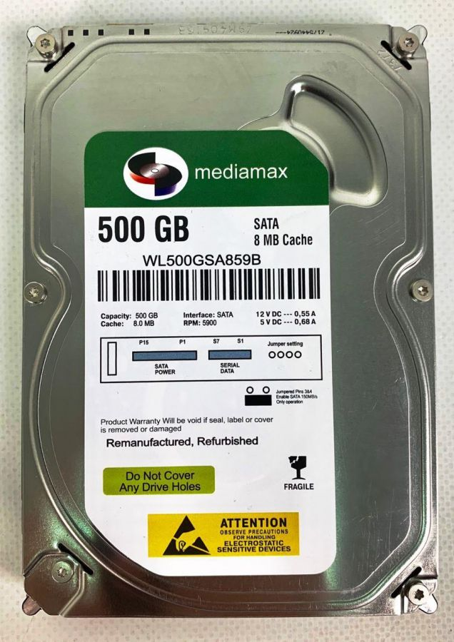 "Накопитель HDD 3.5"" SATA  500GB Mediamax 5900rpm 8MB (WL500GSA859B) Refurbished"