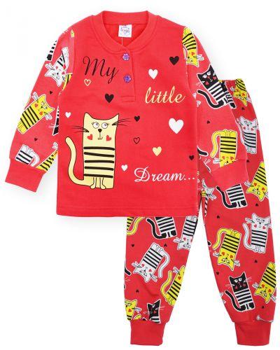 Пижама с начесом, для девочек 2-6 лет BK1251D коралл