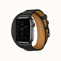 Часы Apple Watch Hermès Series 6 GPS + Cellular 44mm Space Black Stainless Steel Case with Noir Swift Leather Double Tour