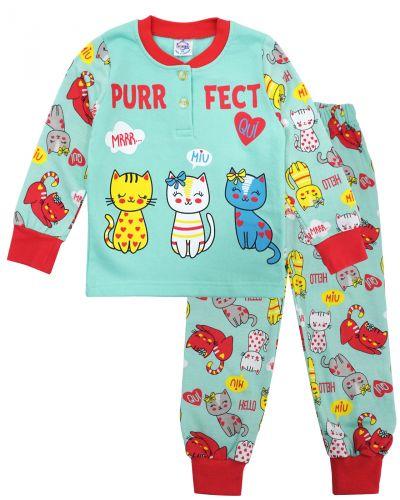 Пижама с начесом, для девочек 2-6 лет BK1251D бирюзовая