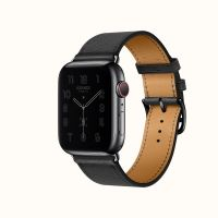 Часы Apple Watch Hermès Series 6 GPS + Cellular 40mm Space Black Stainless Steel Case with Noir Leather Swift Single Tour