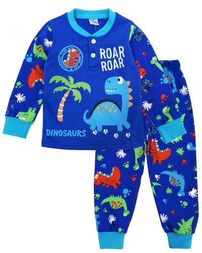 """Пижама с начесом для мальчиков 2-6 лет """"Динозаврик"""" синяя"""