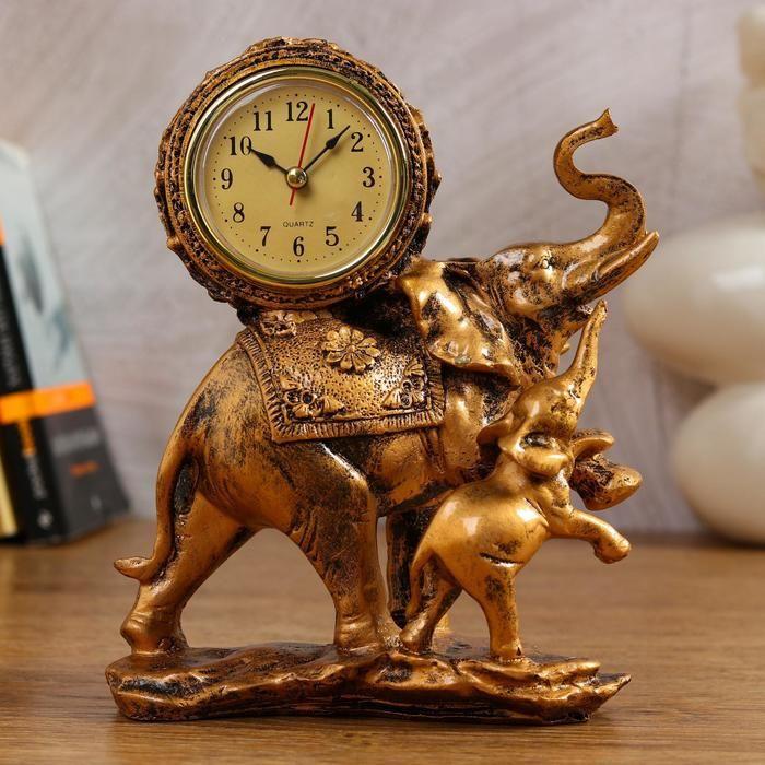 """Часы настольные """"Слониха и слонёнок"""", 17х21 см 1030955"""