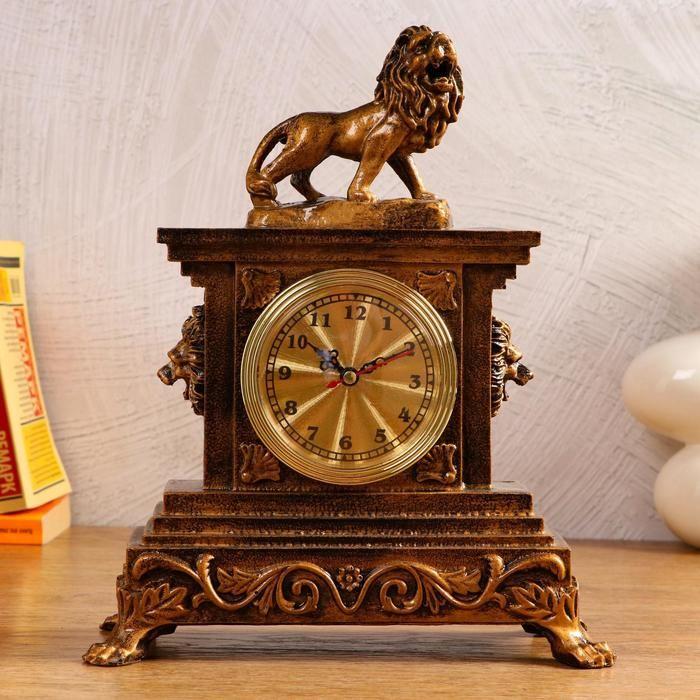"""Часы настольные """"Царь зверей"""", 1 АА, дискретный ход,  24.5х13х30 см   5180709"""