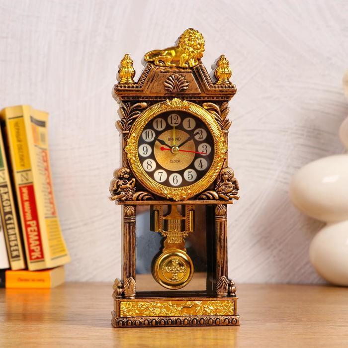 Часы с маятником настольные,  с будильником, 1 АА, дискретный ход, d=5.6 см   5169378