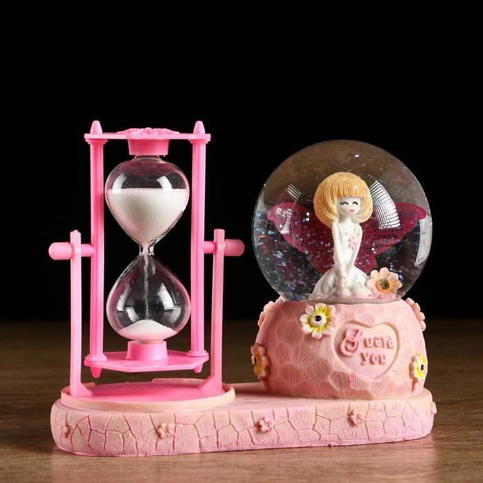"""Часы песочные """"Милый ангел"""", розовый, с подсветкой  16х8х13.5 см   5066605"""