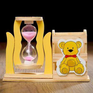 """Часы песочные """"Медвежонок"""" с карандашницей, 13.5х13.5х10 см, микс 3612384"""
