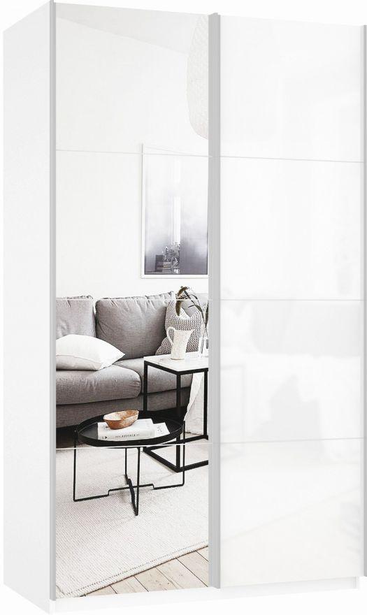 Шкаф-купе двухдверный (Зеркало/Белое стекло) | E1 Прайм