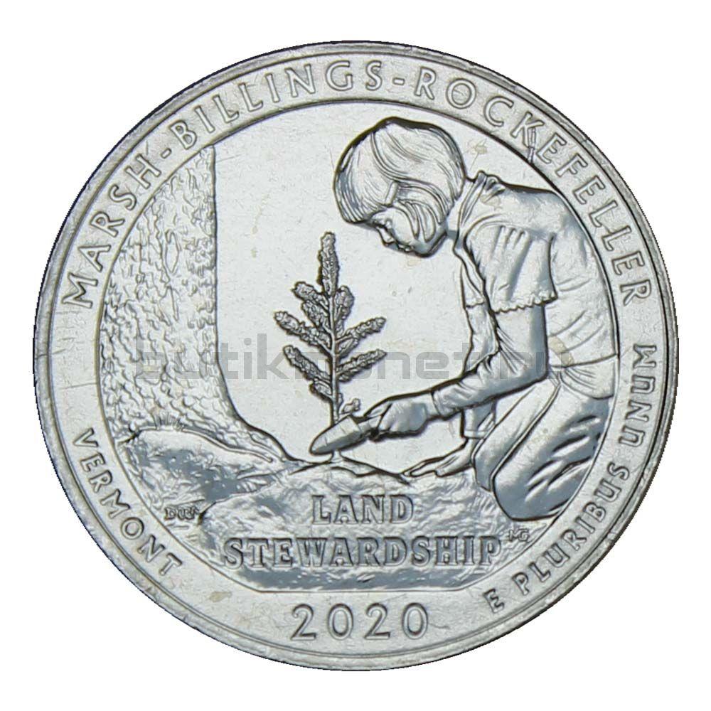 25 центов 2020 США Исторический парк Марш Биллингс Рокфеллер P