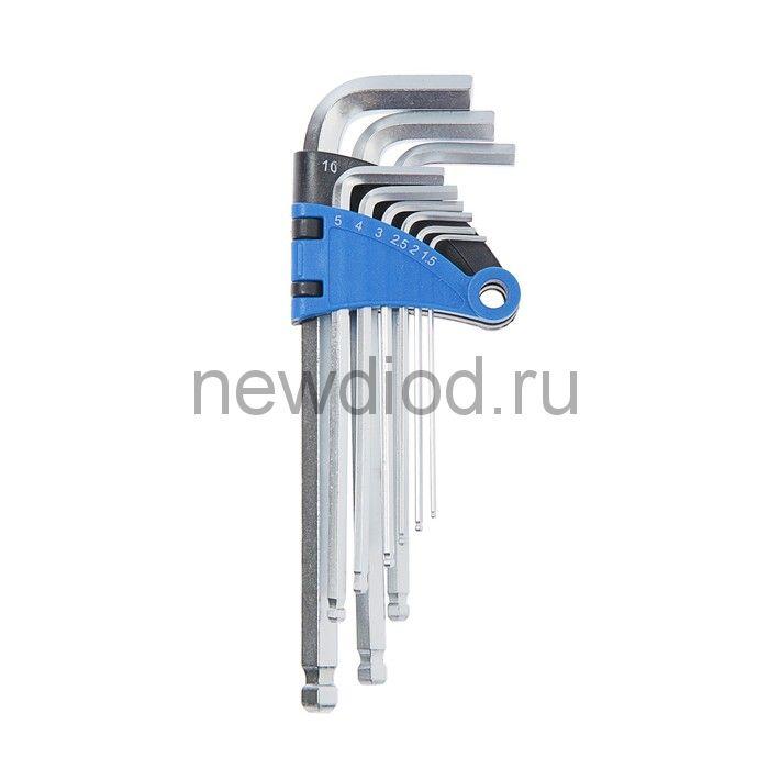 Набор ключей шестигранных TUNDRA, удлиненных с шаром, CrV, 1.5 - 10 мм, 9 шт.