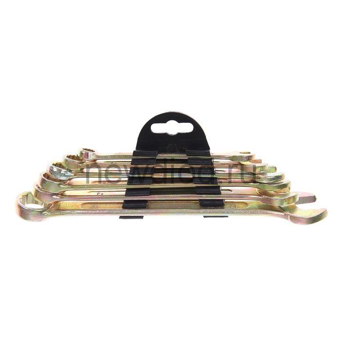 Набор ключей комбинированных в холдере TUNDRA, желтый цинк, 8 - 17 мм, 6 шт.