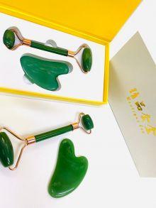 Набор  Роллер-Массажер для лица  + скребок Гуаша зеленый