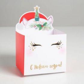 Коробка для мини-букетов «С новым годом», единорог, 12 х 19 х 10 см