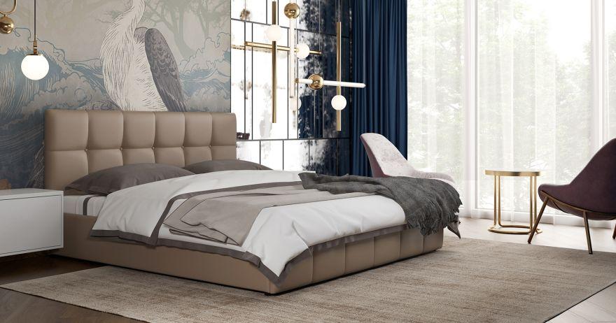 Кровать Хлоя (арт. Пегасо капучино к/з (бежево-коричневый))| Моби