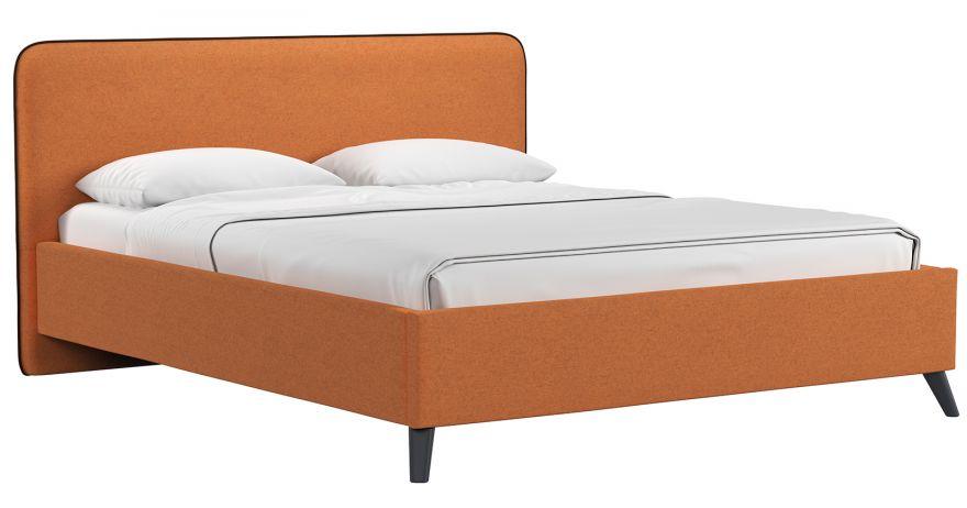 Кровать Миа (арт. Купер 12 жаккард (тыквенный) / кант Лайт 10 Велюр (коричневый)) | Моби