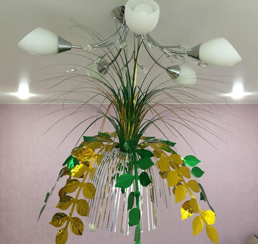 Подвесной фольгированный фонтан-каскад, 55 см ( Листья)