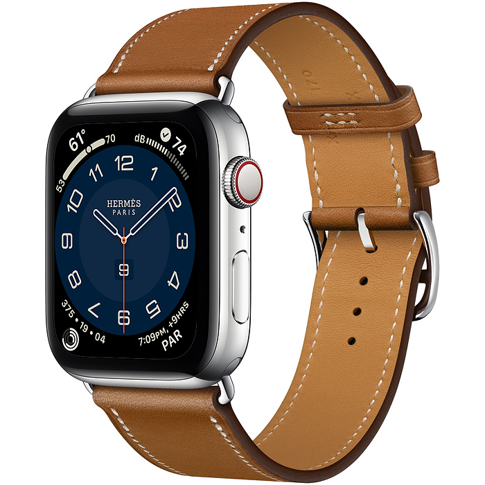 Часы Apple Watch Hermès Series 6 GPS + Cellular 44mm Silver Stainless Steel Case with Fauve Barénia Leather Single Tour