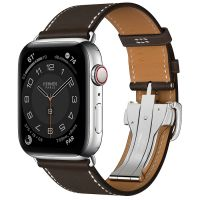 Часы Apple Watch Hermès Series 6 GPS + Cellular 44mm Silver Stainless Steel Case with Ébène Leather Single Tour Deployment Buckle
