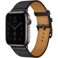 Часы Apple Watch Hermès Series 6 GPS + Cellular 44mm Space Black Stainless Steel Case with Noir Swift Leather Single Tour