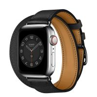Часы Apple Watch Hermès Series 6 GPS + Cellular 40mm Silver Stainless Steel Case with Noir Swift Leather Double Tour