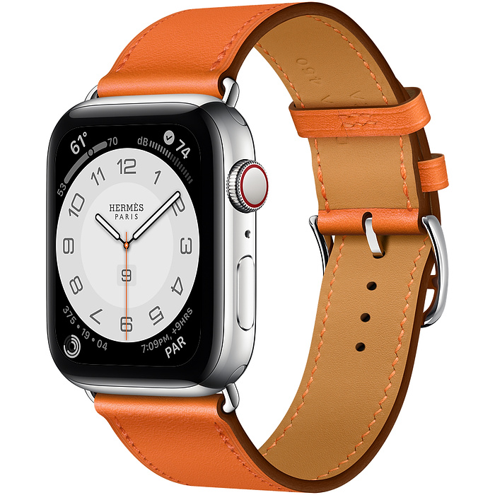 Часы Apple Watch Hermès Series 6 GPS + Cellular 40mm Silver Stainless Steel Case with Orange Swift Leather Single Tour