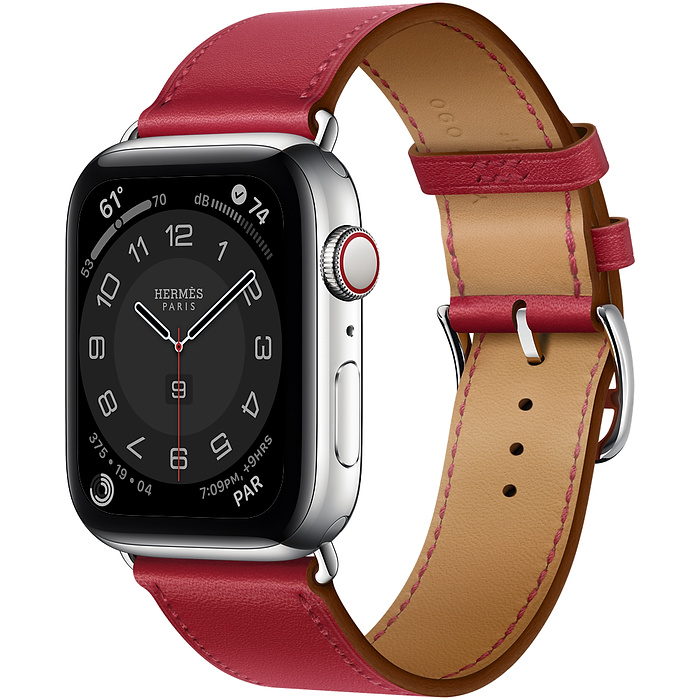 Часы Apple Watch Hermès Series 6 GPS + Cellular 40mm Silver Stainless Steel Case with Rouge Piment Swift Leather Single Tour