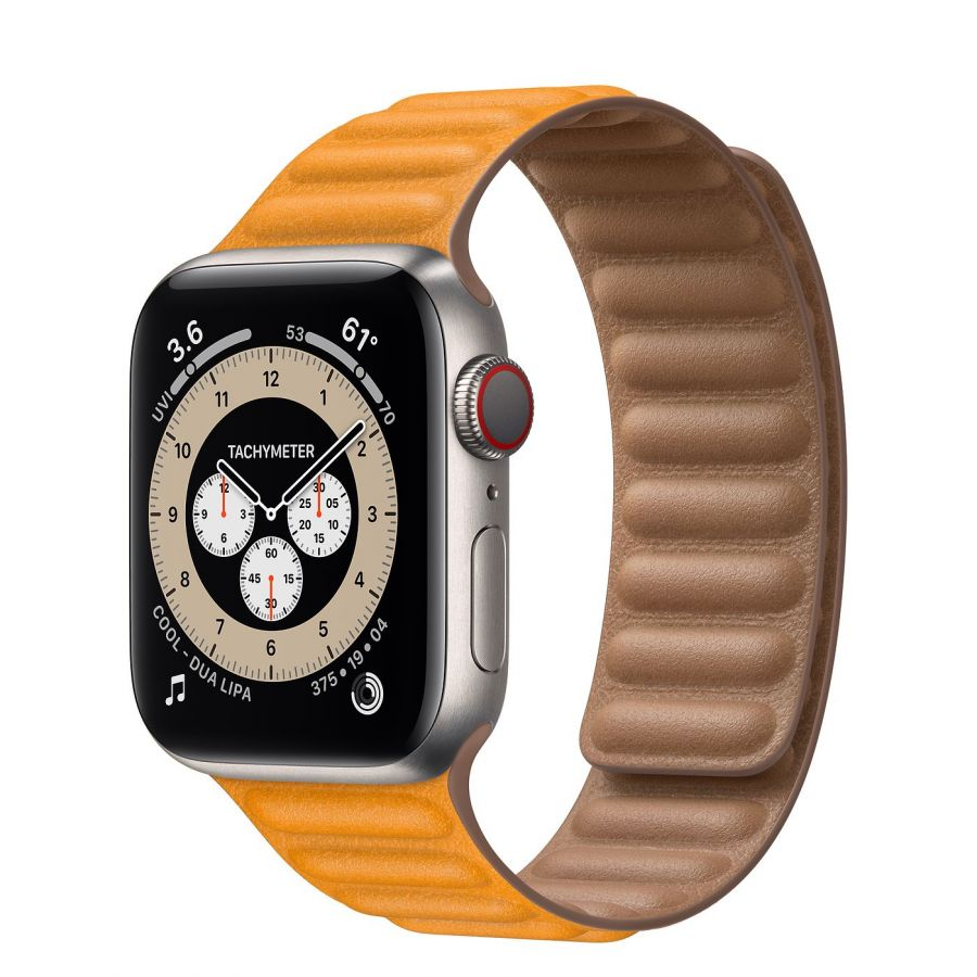 Часы Apple Watch Edition Series 6 GPS + Cellular 40mm Titanium Case with Leather Link California Poppy Leather Link