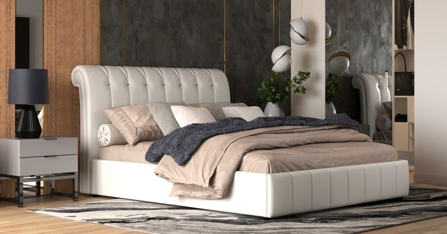 Кровать Августа (арт. Вик-ТР 745А Alamo к/з (белый)) | Моби