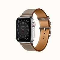 Часы Apple Watch Hermès Series 6 GPS + Cellular 44mm Stainless Steel Case (Silver) with Étoupe Swift Leather Single Tour