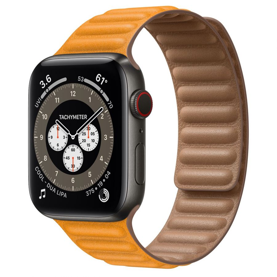 Часы Apple Watch Edition Series 6 GPS + Cellular 44mm Space Black Titanium Case with California Poppy Leather Link