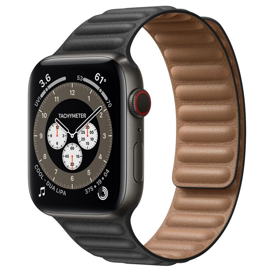 Часы Apple Watch Edition Series 6 GPS + Cellular 44mm Space Black Titanium Case with Black Leather Link