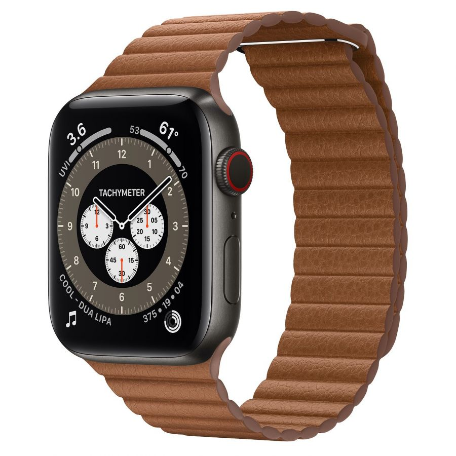 Часы Apple Watch Edition Series 6 GPS + Cellular 44mm Space Black Titanium Case with Saddle Brown Leather Loop