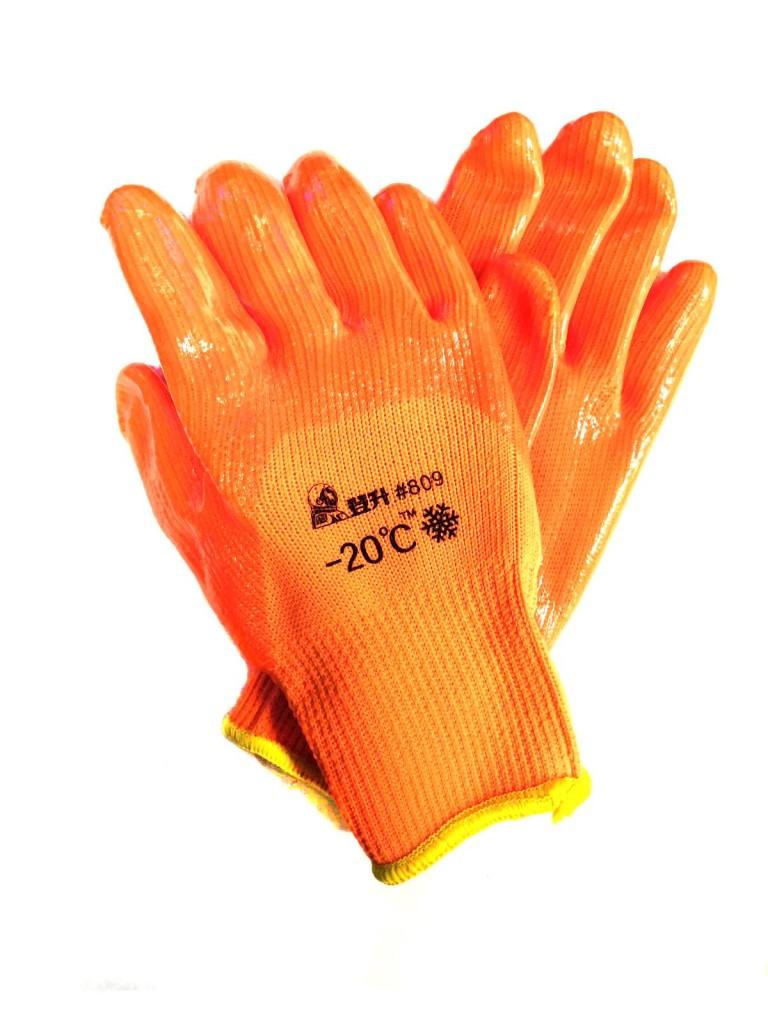 Зимние рабочие перчатки с поливинилхлоридным покрытием #809