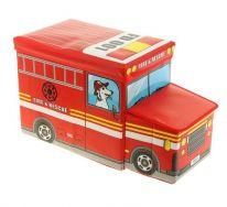 Короб для хранения игрушек Автобус, 2 отделения (55х25×25 см), красный