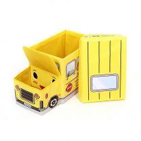 Короб для хранения игрушек Автобус, 2 отделения (55х25×25 см), жёлтый
