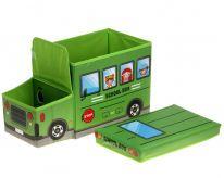 Короб для хранения игрушек Автобус, 2 отделения (55х25×25 см), зелёный