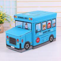 Короб для хранения игрушек Автобус, 2 отделения (55х25×25 см), голубой