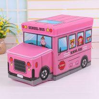 Короб для хранения игрушек Автобус, 2 отделения (55х25×25 см), розовый